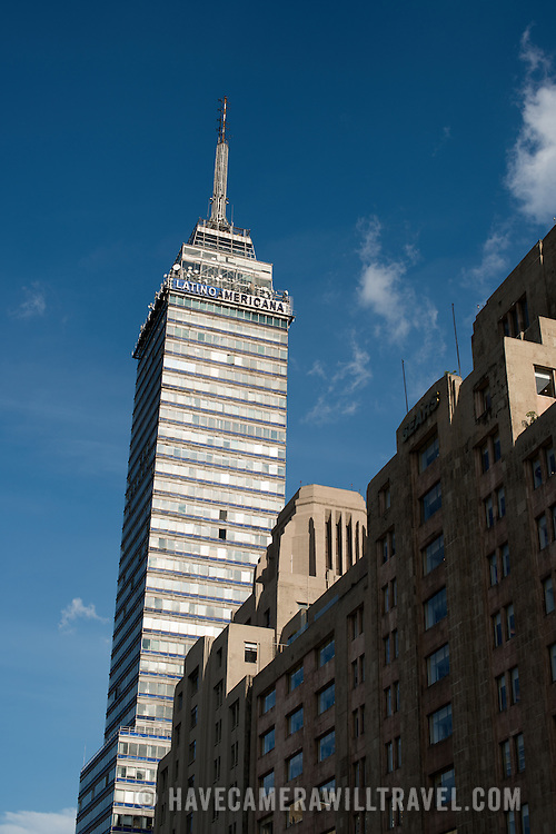 A view of the Torre Latinoamericana from street level in Mexico City, Mexico.