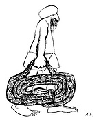 (Indian man carrying a fold up snake)