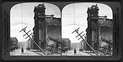 Kearney St. and Hall of Justice after the great disaster, San Francisco, U.S.A.  c1907. photographic print on stereo card : stereograph. showing ruins following the earthquake and fire in San Francisco, 1906.