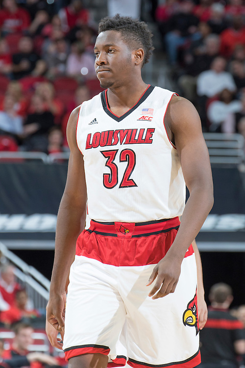 Louisville forward/center Chinanu Onuaku. <br /> <br /> The University of Louisville hosted Notre Dame, Wednesday, March 04, 2015 at Yum Center in Louisville. <br /> <br /> Photo by Jonathan Palmer
