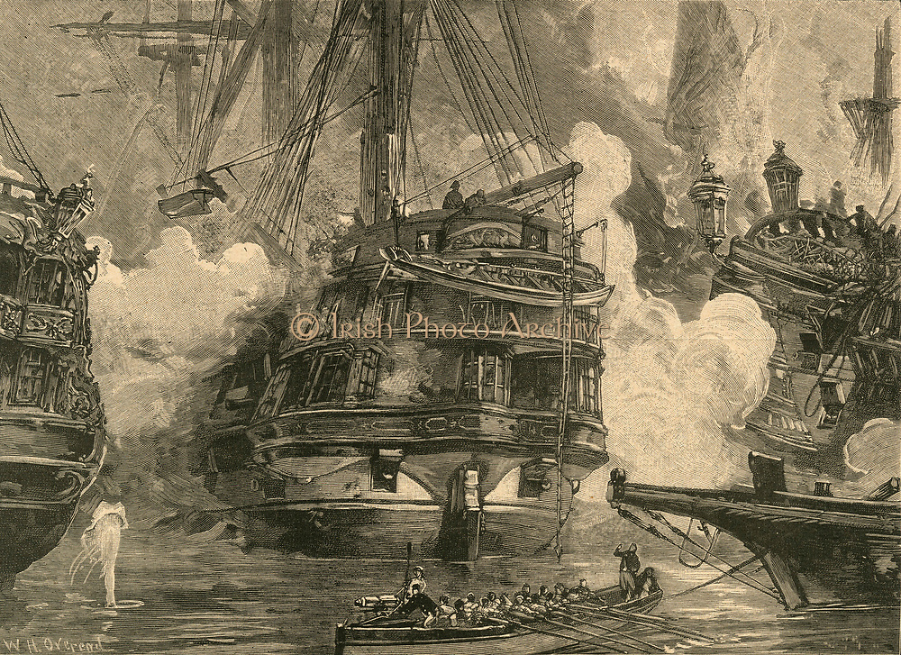 Battle of Navarino, 27 October 1827.   HMS 'Asia'  engaging the enemy.