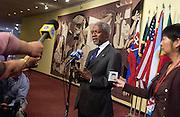 Secretary-General Kofi Annan briefing correspondents at UN Headquarters in New York.