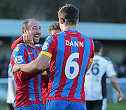 Glenn Murray congratulates Scott Dann of Crystal Palace on his second goal during the The FA Cup Third Round match between Dover Athletic and Crystal Palace at Crabble Athletic Ground, Dover, United Kingdom on 4 January 2015. Photo by Phil Duncan.