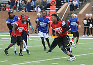 Tampa Bay Buccaneers Linebacker Kwon Alexander makes a move in game play, Super Bowl 51 - 16th Annual Celebrity Flag Football Challenge, Rhodes Stadium,  4 Feb 2017, Katy TX.   Red Team Captain Kirk Cousins would lose for the 2nd straight year to Doug Flutie's Blue team by a final score of 40-35.