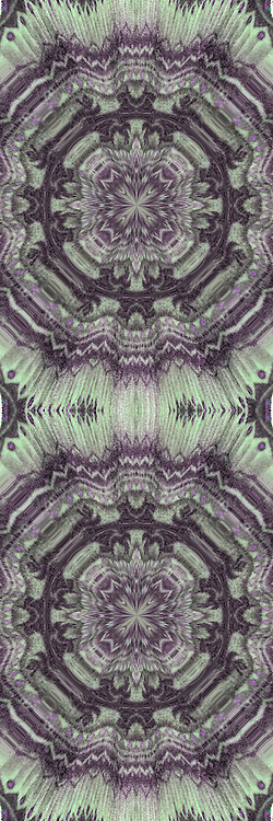 Computer enhanced kaleidoscope of shapes and colors zooming to center point.<br /> <br /> Two or more layers were used to enhance, alter, manipulate the image, creating an abstract surrealistic mirrored symmetry.
