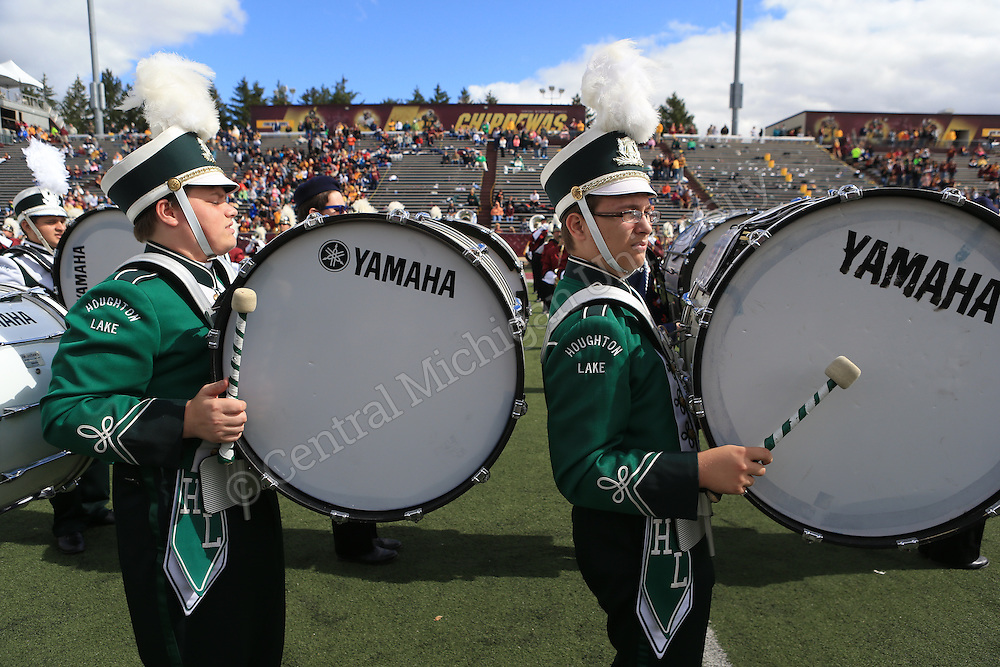 """Hundreds of high school band members from across the state convened on Mt. Pleasant Saturday to participate in the CMU vs. Toledo """"Band Day."""" The students got to practice and play with the CMU Marching Chips at half time as well as check out Central Michigan University."""