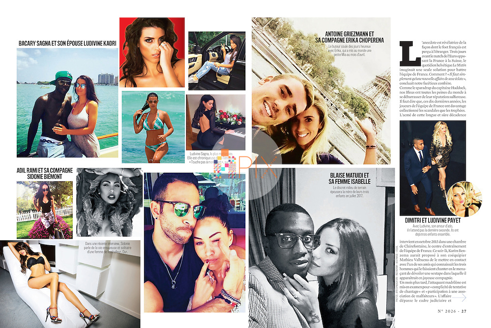 French model and tv personality Sidonie Biemont is featured (bottom left corner) in VSD magazine in France. As the girlfriend of Adil Rami, defender for the French national football team, she and other WAGs are in the spotlight during the Euro 2016 competition.  <br /> <br /> Images are from our shoot 'Sidonie Biemont', available for worldwide use with approval: http://www.apixsyndication.com/gallery/Sidonie-Biemont/G0000ELDiKV0dar0/C0000DjdhL3wKUvI