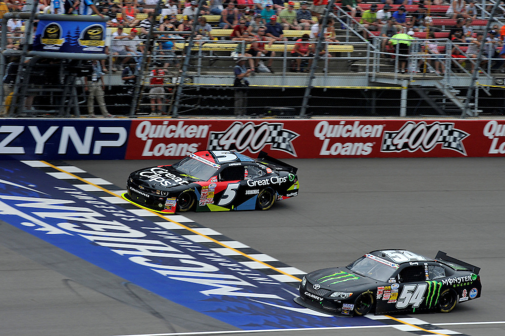 14-15 June, 2013, Brooklyn, Michigan USA<br /> Brad Sweet, Kyle Busch, Monster Energy Toyota Camry<br /> &copy;2013, Scott R LePage<br /> LAT Photo USA