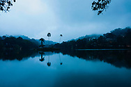 Early morning reflections in Bogambara Lake, Kandy, Sri Lanka, Asia