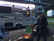 cooking dinner on the camp fire, Azalea Glenn RV Park, near Patrick's Point, California