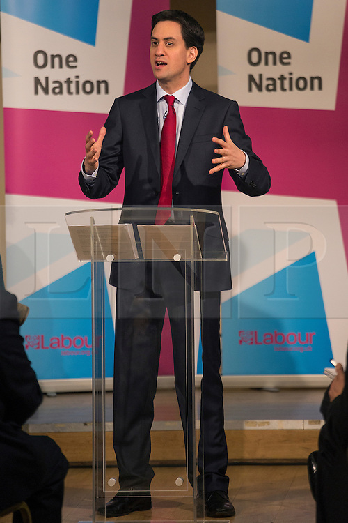 © licensed to London News Pictures. London, UK 14/12/2012. Ed Miliband, Leader of the Labour Party, delivering a speech on the One Nation Labour approach to cultural diversity and integration in Britain in Tooting Broadway, south London. Photo credit: Tolga Akmen/LNP
