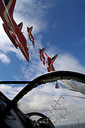 Red Arrows viewed from the cockpit of one of their aircraft