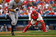 27 Sept 2008: Philadelphia Phillies catcher Carlos Ruiz #51 picks up a bunted ball during the game against the Washington Nationals on September 27th, 2008. The Phillies won 4-3 to clinch the National League Eastern Division title at Citizens Bank Park in Philadelphia, Pennsylvania