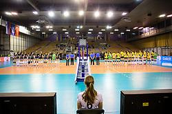 Teams during the volleyball match between Calcit Ljubljana and VakifBank Istanbul at 2016 CEV Volleyball Champions League, Women, League Round in Pool B, 1st Leg, on November 26, 2016, in Hala Tivoli, Ljubljana, Slovenia.  (Photo by Matic Klansek Velej / Sportida)
