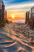 Kitty Hawk beach access at sunrise on the Outer Banks, NC.