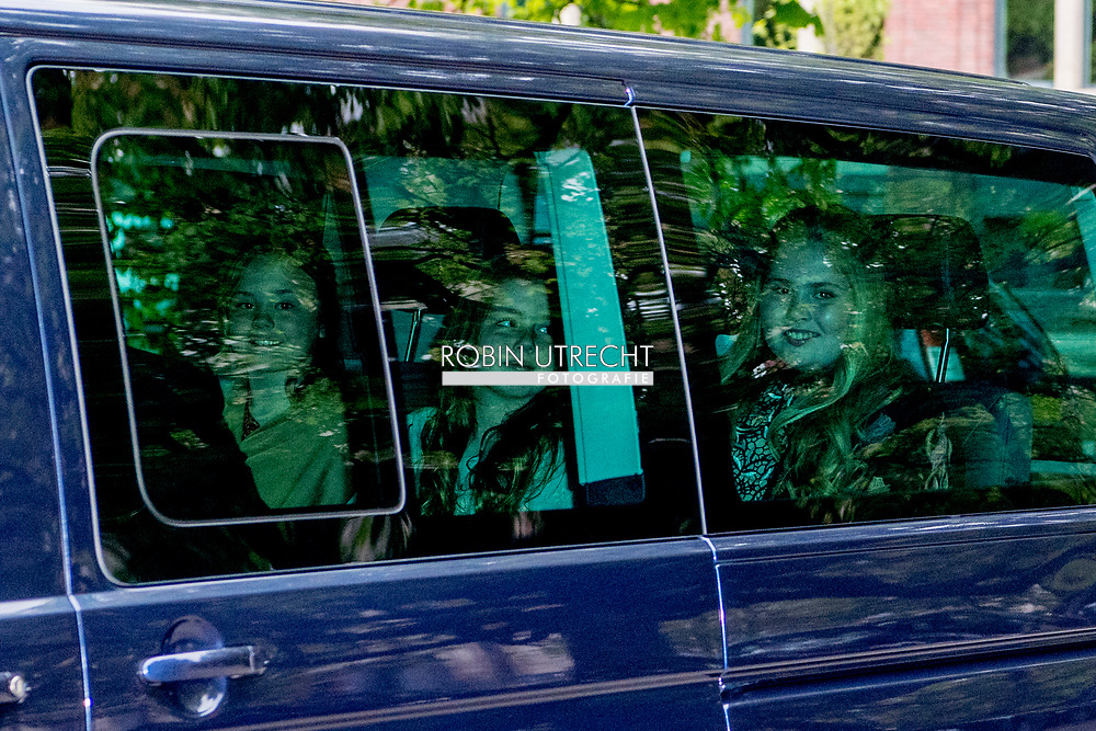 29-04-2017 The Hague Queen Maxima and King Willem-Alexander and Princess Amalia and Princess Alexia and Princess Ariane arrive in a common VW bus/auto for the birthday dinner of the Dutch King at the Royal Stable in The Hague.  ROBIN UTRECHT