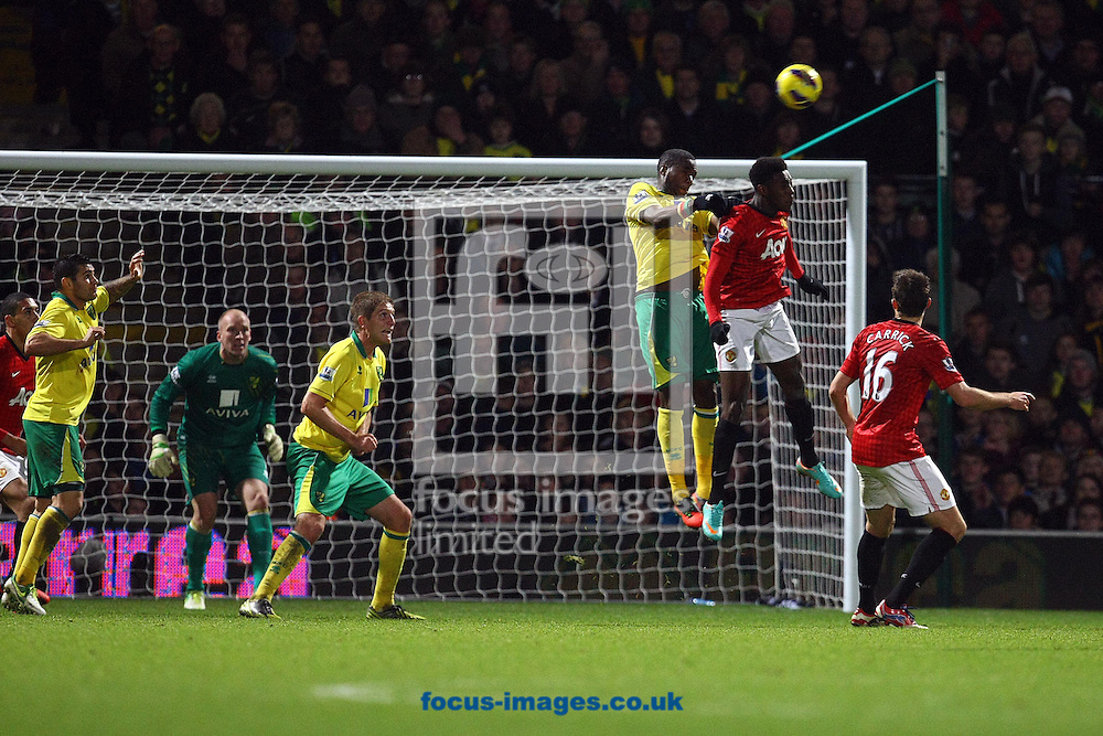 Picture by Paul Chesterton/Focus Images Ltd +44 7904 640267.17/11/2012.The Norwich defence stand firm near the end of the Barclays Premier League match at Carrow Road, Norwich.