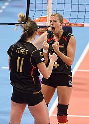 04-01-2016 TUR: European Olympic Qualification Tournament Nederland - Duitsland, Ankara <br /> De Nederlandse volleybalvrouwen hebben de eerste wedstrijd van het olympisch kwalificatietoernooi in Ankara niet kunnen winnen. Duitsland was met 3-2 te sterk (28-26, 22-25, 22-25, 25-20, 11-15) / Maren Brinker #4 of Germany