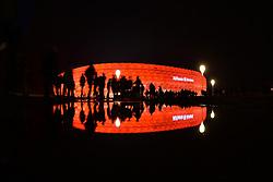 THEMENBILD - die Allianz Arena in Muenchen, im Bild die ALLIANZ ARENA am Abend, Fans und Spiegelung im Wasser, Bild aufgenommen am 16.04.2013, Allianz Arena, Muenchen, Deutschland. EXPA Pictures © 2013, PhotoCredit: EXPA/ Eibner/ Bert Harzer..***** ATTENTION - OUT OF GER *****