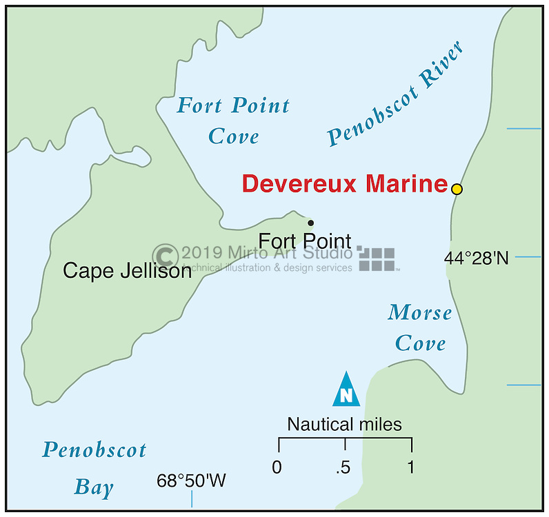 Vector map of Cape Jellison, Maine marina