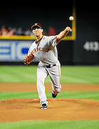 Apr. 17 2011; Phoenix, AZ, USA; San Francisco Giants starting pitcher .Madison Bumgarner (40) pitches during the first inning against the Arizona Diamondbacks at Chase Field. Mandatory Credit: Jennifer Stewart-US PRESSWIRE..