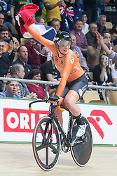 March 2, 2019 - Pruszkow, Poland - Netherland's Kirsten Wild and reacts after winning gold with Amy Pieters in the women's madison at the UCI Track Cycling World Championship in Pruszkow on March 02, 2019. (Credit Image: © Foto Olimpik/NurPhoto via ZUMA Press)