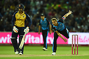 Charlie Morris of Worcestershire Rapids bowling during the Vitality T20 Finals Day 2019 match between Worcestershire County Cricket Club and Essex County Cricket Club at Edgbaston, Birmingham, United Kingdom on 21 September 2019.