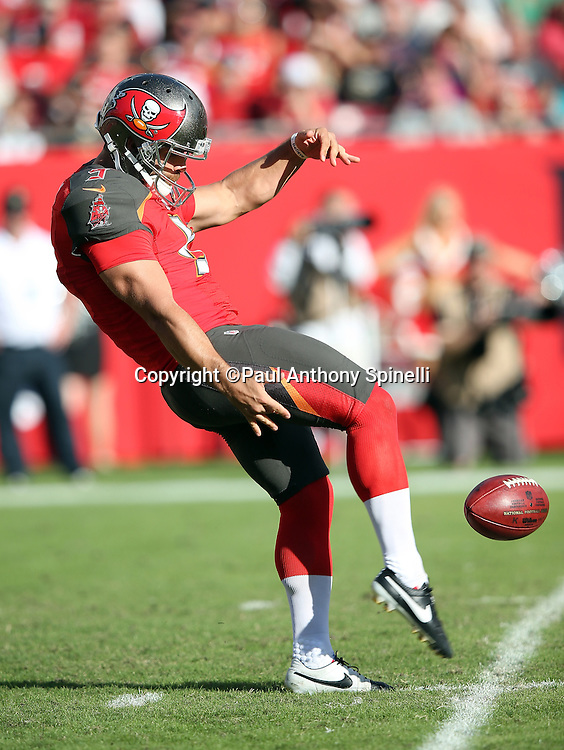 Tampa Bay Buccaneers punter Jacob Schum (5) punts during the 2015 week 14 regular season NFL football game against the New Orleans Saints on Sunday, Dec. 13, 2015 in Tampa, Fla. The Saints won the game 24-17. (©Paul Anthony Spinelli)