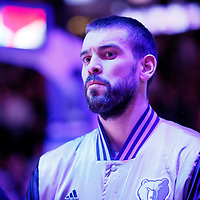 23 February 2015: Memphis Grizzlies center Marc Gasol (33) stands during the national anthem prior the Memphis Grizzlies 90-87 victory over the Los Angeles Clippers, at the Staples Center, Los Angeles, California, USA.