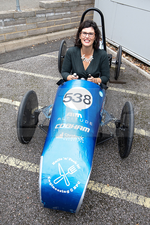 © Licensed to London News Pictures . 16/09/2019. Bournemouth, UK. Shadow Education Secretary LAYLA MORAN tries out a prototype electric car , designed and built by students, during a visit to Bournemouth College STEM Centre, which trains apprentices for industry, during the Liberal Democrat Party Conference at the Bournemouth International Centre . Photo credit: Joel Goodman/LNP