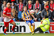 Elliot Omozusi of Leyton Orient and Alan Judge of Brentford during the Sky Bet League 1 match at the Matchroom Stadium, London<br /> Picture by Mark D Fuller/Focus Images Ltd +44 7774 216216<br /> 15/03/2014