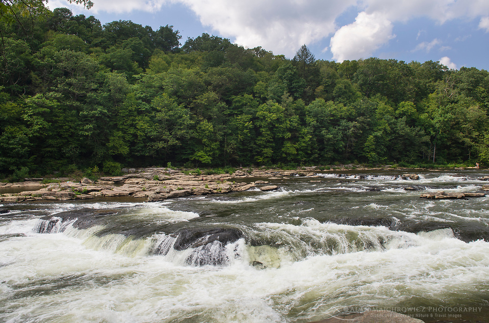 Cascades above Ohiopyle Falls of the Youghiogheny River. Ohiopyle State Park, Pennsylvania.