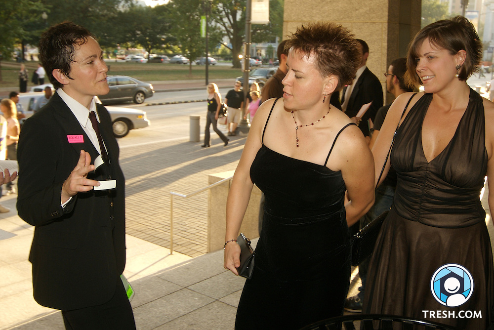 Transgender activists and supporters request dinner guests to wear stickers to protest HRC for not encouraging members of Congress to vote against a non-transgender-inclusive version of the Employment Non-Discrimination Act (ENDA) at the Human Rights Campaign Annual National Dinner, Saturday, October 6, 2007, held in the Washington D.C. Convention Center.