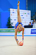 """Agagulian Iasmina during ball routine at the International Tournament of rhythmic gymnastics """"Città di Pesaro"""", 02 April,2016 . She is an Armenian rhythmic gymnastics athlete born in Yerevan in 2001.<br /> This tournament dedicated to the youngest athletes is at the same time of the World Cup."""