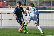 08.04.17; Zuerich; Fussball FCZ Academy - Grasshopper Club - Zuerich FE14 Oberland; <br /> Membrino Nunez Alessandro (Zuerich) Dodaj David(C) (GC) <br /> (Andy Mueller/freshfocus)