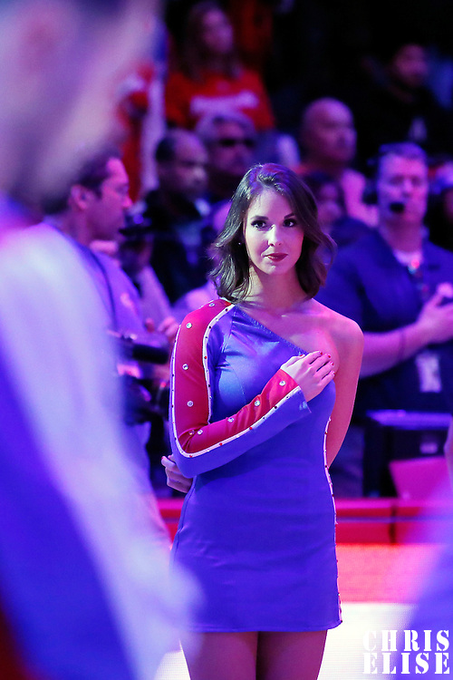 23 November 2013: A Clippers Spirit dancer is seen during the national anthem prior to the Los Angeles Clippers 103-102 victory over the Sacramento Kings at the Staples Center, Los Angeles, California, USA.