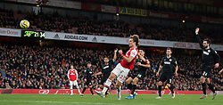 LONDON, ENGLAND - Thursday, December 5, 2019: Arsenal's David Luiz hits the ball into the net but his goal is disallowed for offside after a VAR review during the FA Premier League match between Arsenal FC and Brighton & Hove Albion FC at the Emirates Stadium. (Pic by Vegard Grott/Propaganda)