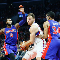 07 November 2016: Detroit Pistons forward Tobias Harris (34) defends on Los Angeles Clippers forward Blake Griffin (32) during the LA Clippers 114-82 victory over the Detroit Pistons, at the Staples Center, Los Angeles, California, USA.