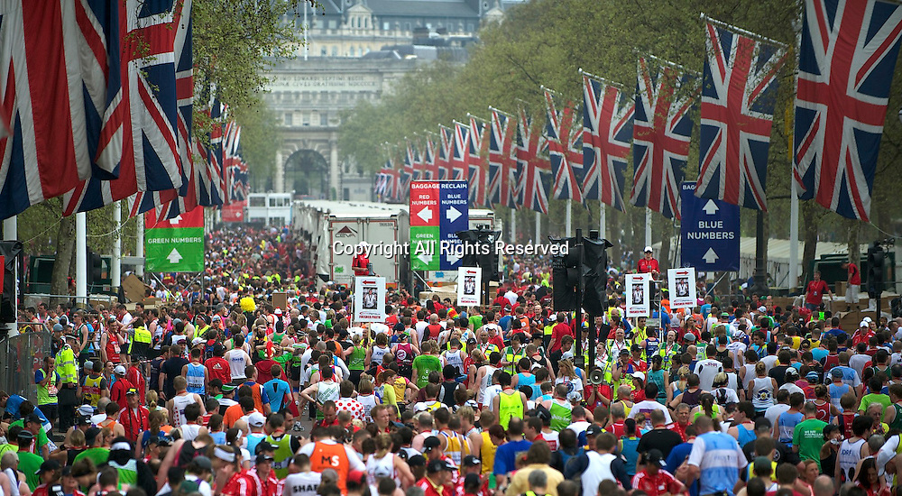 17.4.2011. Virgin London Marathon 2011.  Competitors make their way home after the Virgin London Marathon at the finish line of The Virgin London Marathon at The Mall, London ,England
