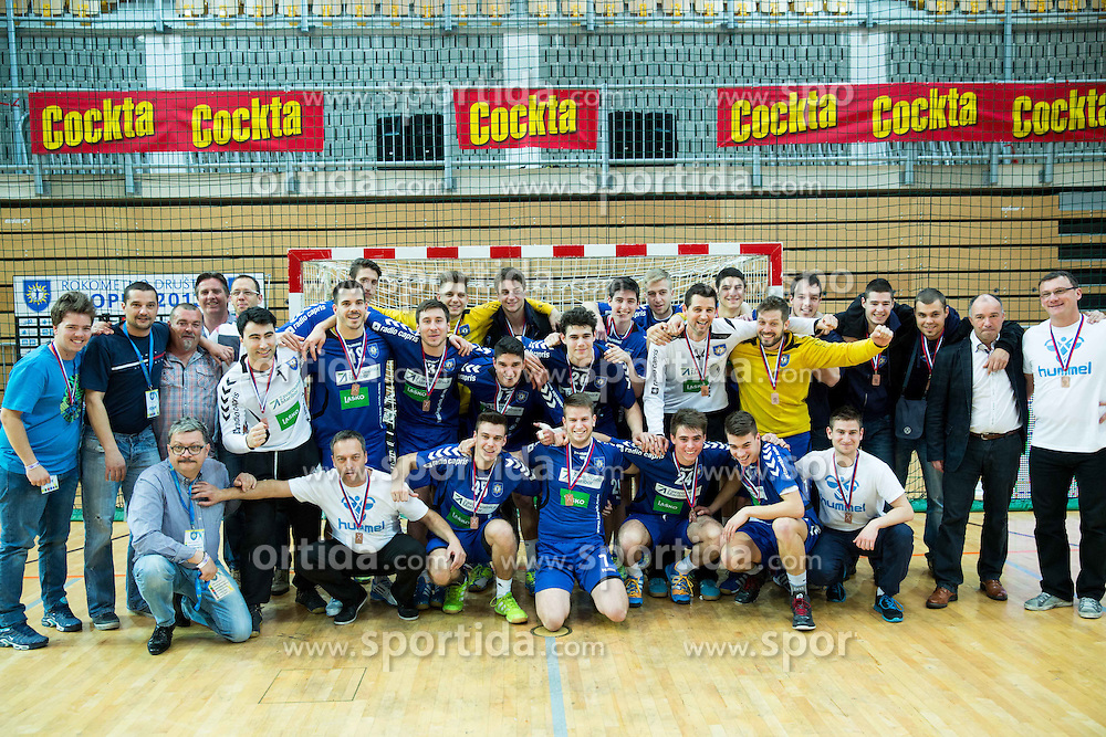 Players of RD Koper 2013 celebrate after winning during handball match between RK Koper 2013 and RK Dol TKI Hrastnik for 3rd place of Slovenian Handball Cup 2015, on March 29, 2015 in Arena Bonifika, Koper, Slovenia. Photo by Vid Ponikvar / Sportida