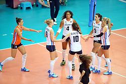 18-06-2016 ITA: World Grand Prix Italie - Nederland, Bari<br /> Nederland wint opnieuw van Italie, het ging moeizaam maar de 3-1 winst was genoeg / <br /> Myrthe Schoot #9, Celeste Plak #4, Robin de Kruijf #5, Laura Dijkema #14<br /> <br /> ***NETHERLANDS ONLY***