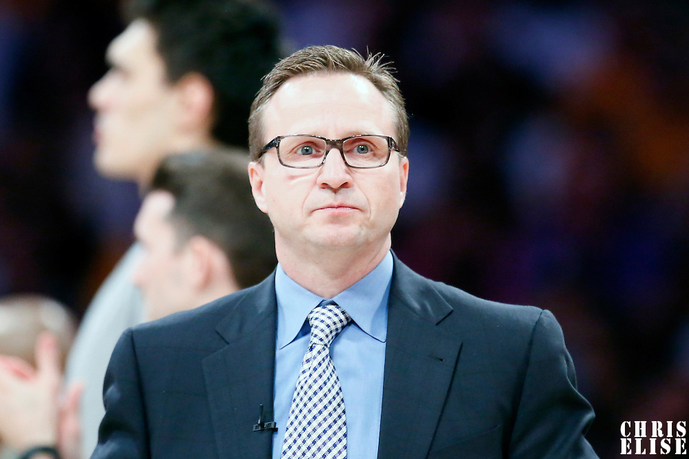 09 March 2014: Oklahoma City Thunder head coach Scott Brooks is seen during the Los Angeles Lakers 114-110 victory over the Oklahoma City Thunder at the Staples Center, Los Angeles, California, USA.