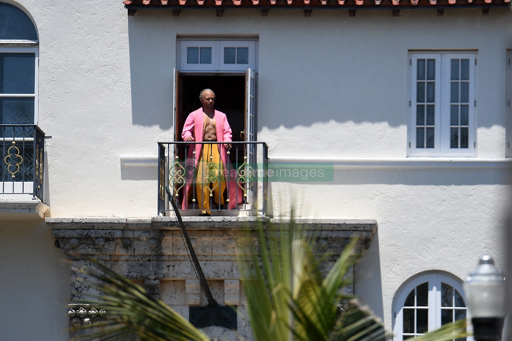 EXCLUSIVE: Actor Edgar Ramirez steps out onto the balcony of the Versace Mansion during filming for American Crime Story in Miami Beach. 12 May 2017 Pictured: Edgar Ramirez. Photo credit: MEGA TheMegaAgency.com +1 888 505 6342
