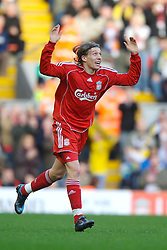 LIVERPOOL, ENGLAND - Saturday, January 26, 2008: Liverpool's Lucas Levia celebrates scoring the first equalisers against Havant and Waterlooville during the FA Cup 4th Round match at Anfield. (Photo by David Rawcliffe/Propaganda)