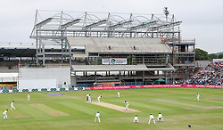 England's Dawid Malan hits out from the bowling of Pakistan's Fahim Ashraf during day two of the Second Natwest Test match at Headingley, Leeds.