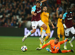 October 20, 2017 - London, England, United Kingdom - Brighton & Hove Albion's Matthew Ryan saves from West Ham United's Manuel Lanzini.during Premier League match between West Ham United against Brighton and Hove Albion at The London Stadium, Queen Elizabeth II Olympic Park, London, Britain - 20 Oct  2017  (Credit Image: © Kieran Galvin/NurPhoto via ZUMA Press)
