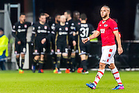 ALKMAAR - 16-02-2017, AZ - Olympique Lyon, AFAS Stadion, teleurstelling bij AZ speler Iliass Bel Hassani made 0-1 van Olympique Lyon speler Lucas Tousart