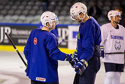 Ken Ograjensek of Slovenia and Miha Verlic of Slovenia during practice session of Team Slovenia at the 2017 IIHF Men's World Championship, on May 8, 2017 in Accorhotels Arena in Paris, France. Photo by Vid Ponikvar / Sportida