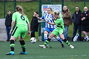Brighton's Lucy Somes is challenged by Forest Green's Jodie Shepperd during the FA Women's Premier League match between Forest Green Rovers Ladies and Brighton Ladies at the Hartpury College, United Kingdom on 24 January 2016. Photo by Shane Healey.