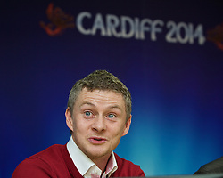 +++ FREE USE FOR STORIES PROMOTING THE UEFA SUPER CUP 2014 ONLY +++<br /> <br /> CARDIFF, WALES - Monday, February 17, 2014: Cardiff City manager manager Ole Gunnar Solskj&aelig;r at the launch the UEFA Super Cup 2014 which will be played at the Cardiff City Stadium on 12th August. (Pic by David Rawcliffe/Propaganda)